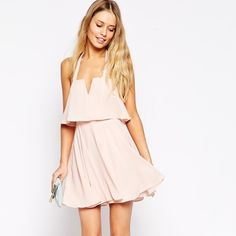 ASOS skater dress with wide straps I am in LOVE with this dress but sadly it was too small for me This blush color is perfect for spring and summer with sun-kissed tan skin! Material has no stretch! Zip back and fully lined. Sold out on ASOS.com. New with tags! US 12 UK 16 ASOS Dresses
