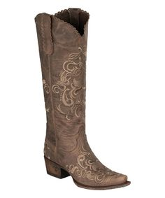 Another great find on #zulily! Brown Tiffany Embroidered Leather Cowboy Boot #zulilyfinds