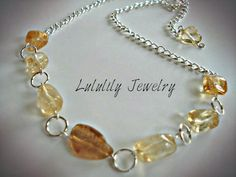 Citrine Necklace, Wire Wrapped Gemstone Necklace, Handmade by Lululily Jewelry