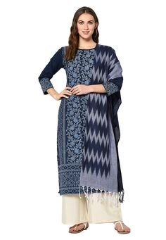 Buy Navy Blue Cotton Palazzo Suit 207958 online at lowest price from huge collection of salwar kameez at Indianclothstore.com.
