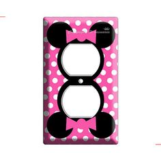 new disney Minnie Mouse pink polka dots electrical power outlets cover plate children room girls bedroom room decor decoration Minnie Mouse Nursery, Minnie Mouse Pink, Mickey Mouse, Minnie Mouse Room Decor, Disney Rooms, Girls Bedroom, Bedroom Ideas, Bedrooms, Room Girls
