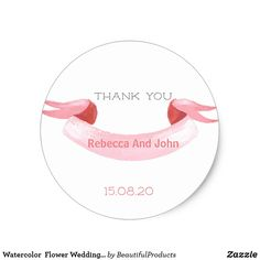 Shop Watercolor Flower Wedding Thank You Sticker created by BeautifulProducts. Thank You Stickers, Holiday Photos, Wedding Thank You, Round Stickers, Watercolor Flowers, Custom Clothes, Custom Stickers, Vows, Wedding Flowers