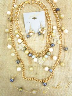 whimsical pearl baubles by jules b. #starfishcrystalcharm #pearlbaubles #mixedpearl #pearlandchain #julesbjewelry