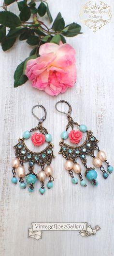 Boho Chandelier Earrings, Frida Kahlo's Earrings, Statement Turquoise Pink Earrings by VintageRoseGallery Pink Earrings, Boho Earrings, Chandelier Earrings, Boho Jewelry, Jewelry Gifts, Unique Jewelry, Jewelry Ideas, Jewellery, Bff Gifts