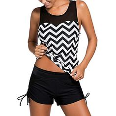 db773ac1c88 LAVENCHY Women Plus Size Black White Zigzag Print Mesh Splice Padded Top  with Shorts Two Piece Swimsuits Bathing Suits Tankini Set for Girls Black