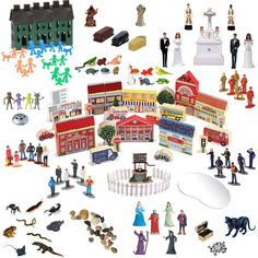 THE SAND PLAY EXPANSION PACKAGE  Makes a great addition to an existing collection or could also be used as a starter set.  Included are: a complete town - including buildings, vehicles, street/ traffic signs and trees; multicultural people figures; town homes/ row houses; versatile people/ family figures; pets; landscape replicas; religious/ matrimonial figures; venomous creatures; sci-fi figures from outer space; horror/ symbolic figures, magical/ fantasy figures; and polished river stones.