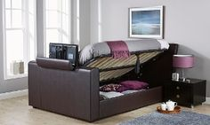 Groupon - Brooklyn TV Bed with Optional Side Lift Ottoman Storage from With Free Delivery (Up to Off) in [missing {{location}} value]. Double Size Bed Dimensions, Ottoman Storage, Tv Beds, Big Houses, My Dream Home, Bed Frame, Free Delivery, Mattress, Brooklyn