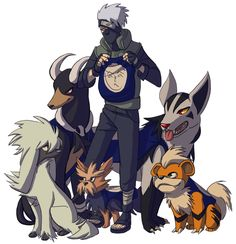 i'm pretty sure kakashi's pokemon team would be made up of dog pokemon (That's a tiny herdier, and where is the sixth one? Kakashi Hokage, Kakashi Sensei, Pokemon Crossover, Fandom Crossover, Anime Crossover, Dog Pokemon, Pokemon Fan, Cute Pokemon, Character