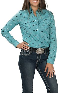 1acbba7a91 Wrangler Women s Turquoise with Black Skull Print Long Sleeve Western Shirt