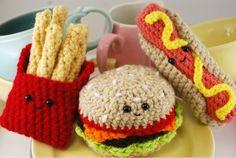 Trío de comida rápida de patrón - Amigurumi de ganchillo
