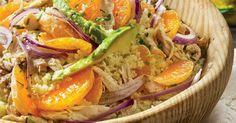 Salada de cuscuz com clementinas, frango e abacate