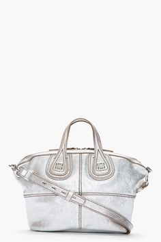 Givenchy Metallic Silver Leather Micro Nightingale Bag