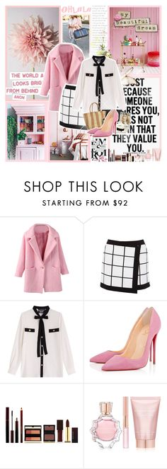 """""""The dream of Pink"""" by polyvoretown ❤ liked on Polyvore featuring Karen Millen, Boutique Moschino, Christian Louboutin, Kevyn Aucoin, Oscar de la Renta and Lancôme"""