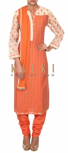 Buy this Rust straight suit enhanced in resham and pleats only on Kalki