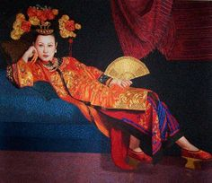 Chinese silk embroidery work, hand embroidered painting with silk threads, Suzhou embroidery art, Su Embroidery Studio