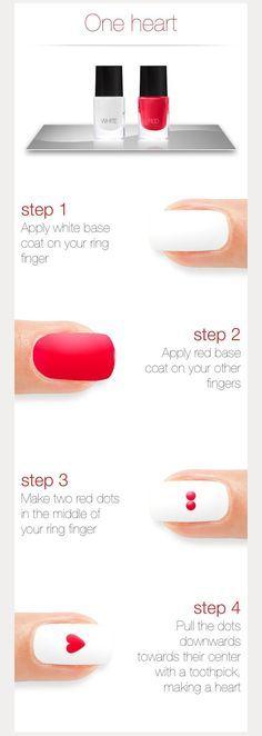 DIY heart nail designs ~ we ❤ this! moncheribridals.com