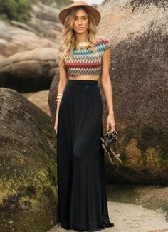 modelos de saias longas de cintura alta para usar com cropped