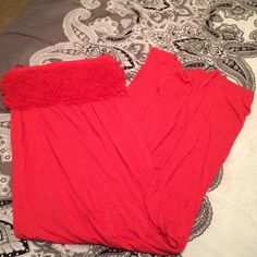 Coral Pink Maxi Dress! Super cute worn once! Really comfortable and in great shape! Floor length maxi dress Dresses Maxi
