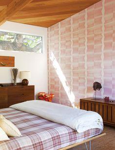high windows, wood ceiling.