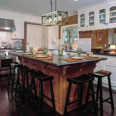 Kitchen Island Ideas - The kitchen island is the ideal location to stabilize congregation and splitting up. Photos Of Best Modern Small Kitchen Islands Rustic Kitchen Island, Farmhouse Kitchen Tables, Kitchen Island Lighting, Dining Room Lighting, Kitchen Islands, Table Lighting, Kitchen Island With Seating, Kitchen Decor, Kitchen Design