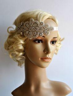 Crystal Headband,Rhinestone flapper Gatsby Headband, Wedding Bridal Headband  Headpiece, Halo Bridal Headpiece, 1920s Flapper headband by BlueSkyHorizons on Etsy https://www.etsy.com/listing/192096946/crystal-headbandrhinestone-flapper