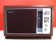 1970's Sony AM/FM Radio, wood panel.  #vintage radios #1970's #Sony