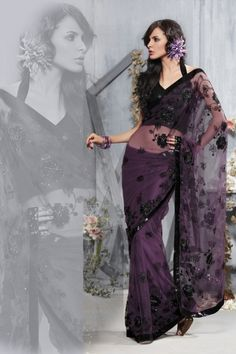 Byzantium Purple Net Embroidered Party and Festival Saree