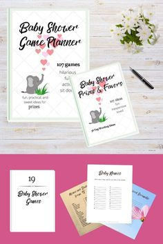 baby shower game planner, baby shower game and activity ideas, baby shower favor tag wording ideas and printable favor tags, baby shower game printables in neutral design Best Baby Shower Favors, Easy Baby Shower Games, Budget Baby Shower, Baby Shower Prizes, Baby Favors, Baby Girl Shower Themes, Simple Baby Shower, Baby Shower Fun, Cheap Baby Shower Decorations