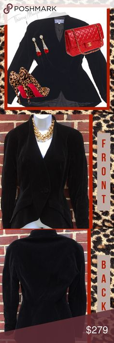 """THIERRY MUGLER Black Velvet Evening Blazer ~ Sz 4 🖤❤️Authentic Thierry Mugler elegant black evening Blazer, size 38, which is the U. S. equivalent of a size 4. Tapered sexy waist with one button front closure.  Fully lines and in excellent condition!! 🖤❤️ Shoulders - 16"""", sleeves - 24"""", bust - 18"""" across, waist - 13 1/2"""" across, length - 22 1/2"""". Thierry Mugler Jackets & Coats Blazers"""