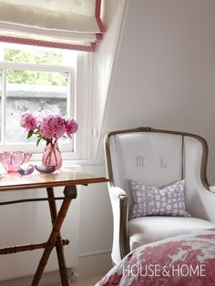 Cosy Pink Bedroom Nook | Photo Gallery: Sarah Richardson Designs | House & Home | Photo by Stacey Brandford