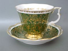 Royal Albert Cup Saucer Buckingham Series Green