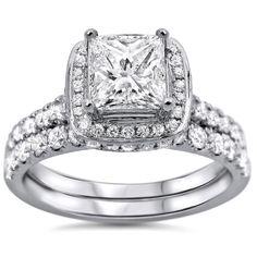 Noori 18k White Gold 1 3/5ct TDW Princess-cut Diamond Clarity-enhanced Bridal Set (G-H, SI1-SI2)