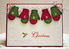 Merry Mittens handmade Christmas card by sleepyinseattle - Cards and Paper Crafts at Splitcoaststampers. ADORABLE card with green & red mittens hanging on red & white string. Stampin Up Christmas, Christmas Cards To Make, Christmas Paper, Xmas Cards, Handmade Christmas, Holiday Cards, Christmas Crafts, Merry Christmas, Scrapbook Cards