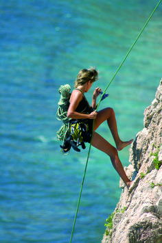 Climber in parete a