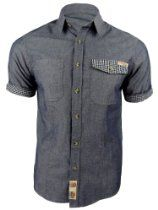Mens Tokyo Laundry Short Sleeved Shirt 'Silva' Denim Blue