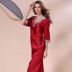 New Style Women Silk Pajamas Sets 2017 Spring Summer Design Elegant Lace Embroidered Female Satin Pajamas,5 color,Plus Size