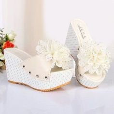Flower Ball Dot Candy Color Sweet Peep Toe Platform Wedge Heel Slippers