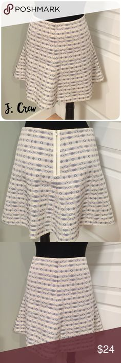 🌟J. CREW🌟 LINED SPARKLE SKIRT Skirt has been gently worn but in great condition. The length is 17 inches and it has a rear zipper enclosure. It is fully lined. It has blue and gold sparkle thread throughout. J. Crew Skirts