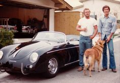 Bruce Meyer (right) delivering a 1958 Porsche 356 Speedster to Steve McQueen (photo: Bruce Meyer Collection)