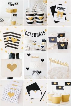 Black Gold Party Introducing The Cricut Explore™ Craft Cutting Machine The TomKat Heart of Gold Cricut™ Party Collection! Party Box, Diy Party, Party Time, Party Ideas, Black Gold Party, Black White Parties, White Gold, Photobooth Ideas, Grad Parties
