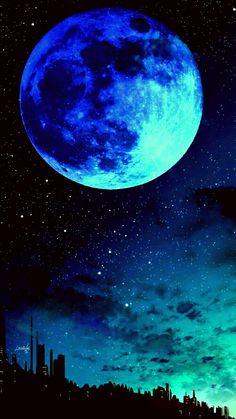 Blue moon - RoDé Prokop - Space Everything Wallpaper Earth, Planets Wallpaper, Wallpaper Space, Scenery Wallpaper, Cute Wallpaper Backgrounds, Dark Wallpaper, Pretty Wallpapers, Wallpapers Of Nature, Cute Galaxy Wallpaper