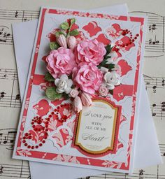 Beautiful Paper Flower Valentine's Day Greeting Card on Etsy, $7.00