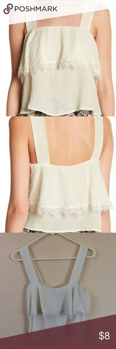 💲⬇️ Cream Lace Crop Top Crop Top from Nordstrom Rack with lace ruffle details. Silky Material, only worn once! True to size. Feel free to ask questions, make offers, and bundle! Nordstrom Tops Crop Tops