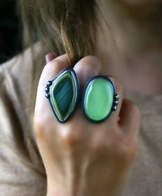 It Dwells in Greenery - Imperial Jasper and Chalcedony Sterling Silver Ring