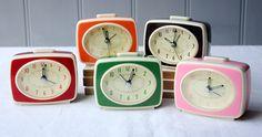Retro Tv Style Orange Alarm Clock