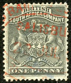 """1890 Scott 2 1p black """"Coat of Arms"""" Sporting the British South Africa Company Coat of Arms, with """"commerce"""" as one of their tenets, The initial 1890-94 issue had 19 stamps, The eight higher denomination values (3sh - 10 pounds) have a CV of $50+-$800. But with a revenue cancellation, they are significantly cheaper ($1-$70+)."""