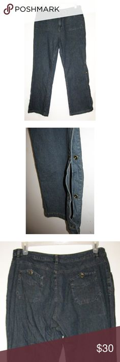 """Vintage 80s Snap Leg Stretch Denim Jeans 14 Vintage 80s snap leg stretch denim jeans by Forenza. Waist: 36"""" Rise: 12"""" Inseam: 31"""" Snap at waist and zip closure Two shallow front pockets Two hip pockets with snaps. Excellent condition. No flaws. Matching jacket listed separately. Vintage Jeans Flare & Wide Leg"""