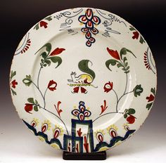ENGLISH DELFTWARE CHARGER POLYCHROME COLORS MID 18TH CENTURY