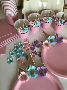 Unicorn Tableware, Unicorn Cup, Unicorn Plate, Unicorn Party, Unicorn Decorations - Tabaklar için süper fikir You are in the right place about diy home decor Here we offer you the m - Unicorn Themed Birthday Party, First Birthday Parties, Birthday Party Decorations, First Birthdays, 5th Birthday, 7th Birthday Party For Girls Themes, Unicorn Baby Shower Decorations, Decoration Party, Unicorn Plates