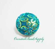 1 Snap Button Aqua Green Flower Print Glitter Flower Snap Button 18mm Button Snap Jewelry Chunky Button Jewelry Metal Button 7012 by OverstockBeadSupply on Etsy
